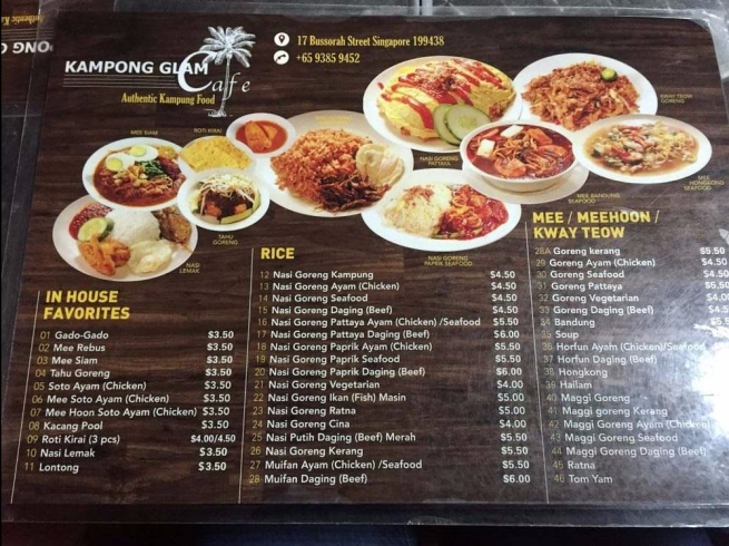 menu kampong glam cafe (source by google)